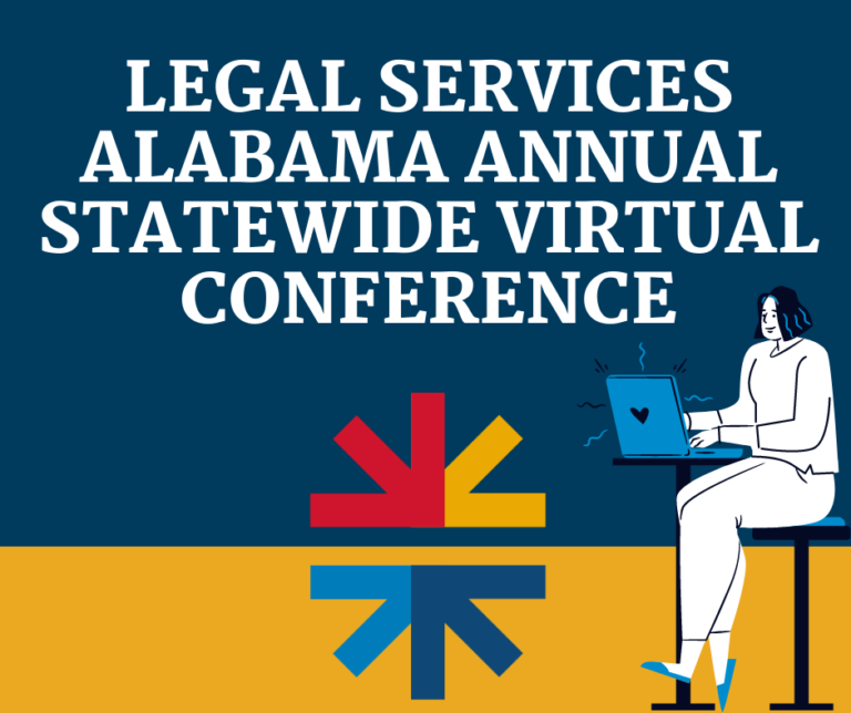 Text says Legal Services Alabama Annual Statewide Virtual Conference. A cartoon person sits at a table with an open laptop.