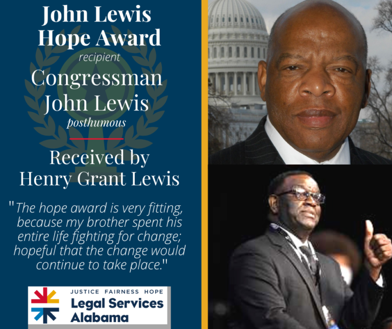 "Pictures of Congressman John Lewis and his younger brother Henry Grant Lewis. John Lewis was given the Justice Award before he passed, and Grant accepted his award. An excerpt from Henry Grant Lewis' speech reads ""The hope award is very fitting, because my brother spent his entire life fighting for change; hopeful that the change would continue to take place."""